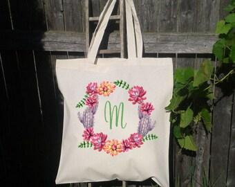 Bridesmaid Tote Bag, Bridesmaid Succulent Wreat Tote Bag, Bridal Party Gifts, Custom Tote Bag for Bridesmaid