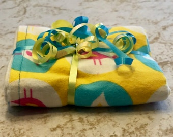 Retro Bird Yellow Blue Polka Dots Reversible Burp Cloths - Ready to Ship by PiquantDesigns