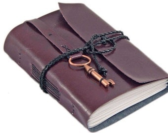 Burgundy Faux Leather Journal with Blank Paper and Key