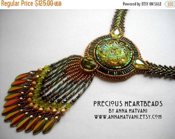 Custom order Bead Embroidery necklace green gold olive - Bead Embroidered - Made to Order