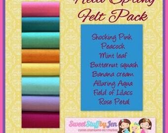 Hello Spring Felt Variety Bundle-Wholesale Wool Felt-Felt Bundle-Wool Felt Sheets-Felt Pack-Felt Variety Pack