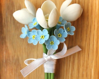 Brooch with snowdrops and forget-me-nots, flower jewelry, polymer clay jewelry, flower brooch