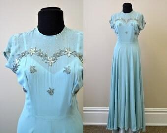 1940s Blue Chiffon Evening Gown