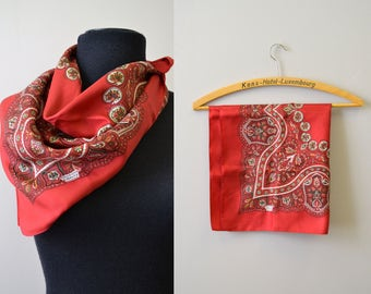 1960s Red Liberty of London Silk Scarf