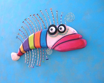 Fish Wall Art, Rainbow Trout, Original Found Object Wall Sculpture, Wood Carving, Wall Decor, by Fig Jam Studio