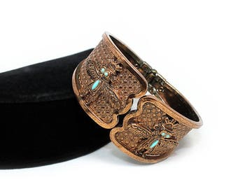 Southwestern Style Copper Clamper with Kachina Design, ca. 1960s