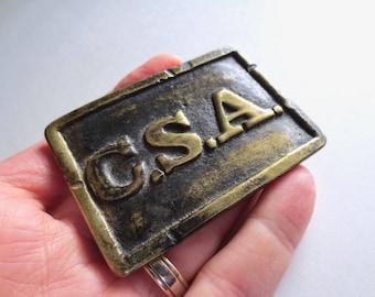 Brass CSA Belt Buckle, Virginia Style, Civil War Reenactment, Cast Solid Brass Buckle, 1860s Military Costume, Jackpot Jen Vintage