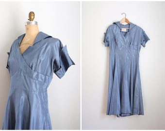vintage 1950s blue taffeta dress - slate blue taffeta dress / 50s costume - 1950s costume dress / swishy taffeta dress - blue dress
