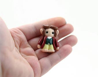 Bilbo Baggins Figure - Hobbit Miniature - Mini Clay Hobbit - Fairy Garden Accessory - Terrarium Accessory - Hobbit Sculpture