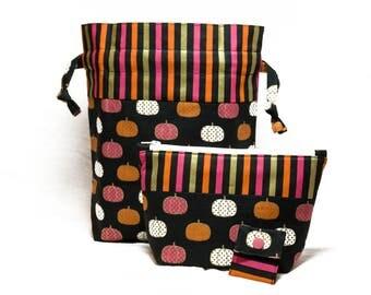 "New! ""Bright Pumpkins"" 2 Piece Knitting Bag Project Set"