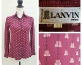 ON HOLD xs/xxs Vintage 70s Lanvin Silk Blouse Monogram Horsebit Print Equestrian