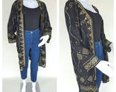 Vintage 80s Rayon Duster Oversized Cardigan Embroidered Kimono Cardigan