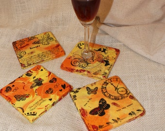 It's Time To Fly, Coasters, Valentines Day, Orange Coasters, Butterfly Coasters, Office Decor, Dorm Room, Yellow Coasters, Wine Glass Holder