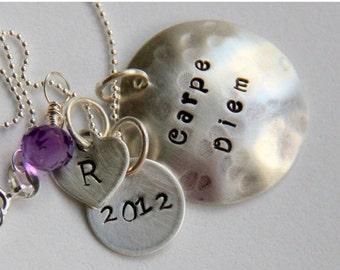 HUGE SALE Carpe Diem Graduation Necklace - Carpe Diem Quote - Seize The Day - Latin - Graduation -Sterling Silver Initial Necklace - 2015