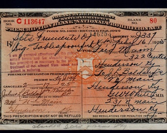 Antique Rare Kentucky Whiskey Rx Prescription Prohibition Doctor White Henderson KY Pharmacy Bar 1925 Medicine Speakeasy 2/16 2/17 1925