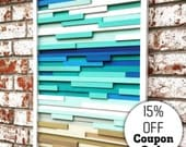 Wall Art - Wood Wall Art -  Wood Sculpture - Modern Reclaimed Wood - Ocean 20x40 SALE - 15% OFF with COUPON code