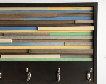Coat Hooks - Reclaimed Wood Art - Abstract Painting on Wood - Coat Rack 18X30