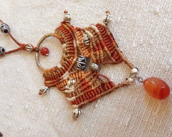 Goddess necklace - macrame necklace - orange knotting african queen beaded OOAK jewel withCarnelian stone dangle