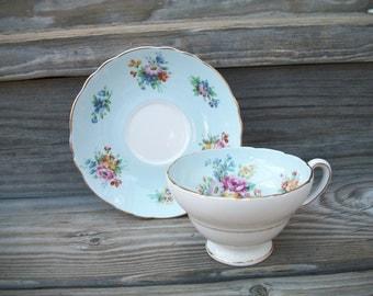 English Teacup and Saucer,Robin Egg Blue, Floral,Vintage