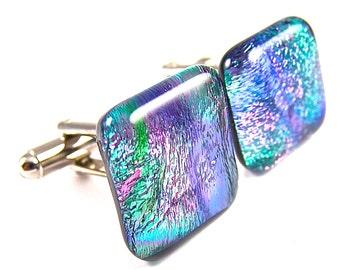 "Dichroic Cuff Links - Green Blue Teal Mauve Pink Purple Tie Dye  Rainbow Striped Dicro Swirls Fused Glass - 3/4"" 2cm"