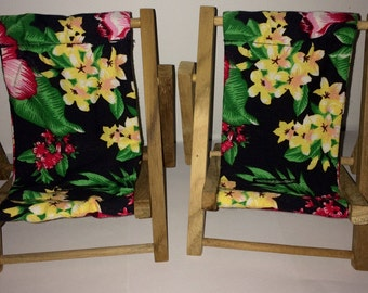 Large Black Tropical Flowers Cell Phone Chair Mamakohawaii