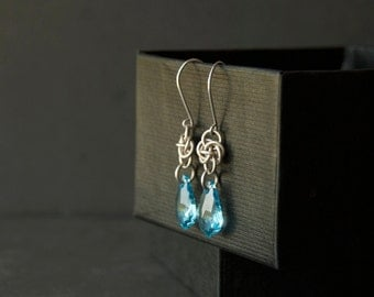 Sterling silver earrings. Celtic knot earrings. Silver chainmaille earrings. Blue crystal earrings. Gift for her. Bridesmaid gift.