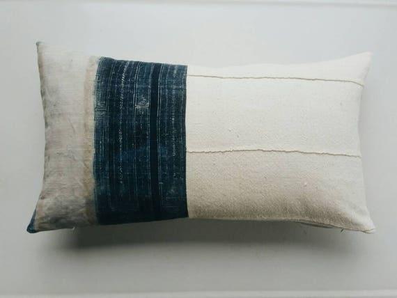 Indigo Hmong and Mudcloth Pillow Cover - Boho Pillows - Modern Bohemian Decor