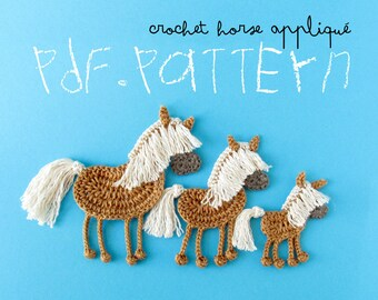 Crochet Pattern Horse Appliqué, 3 sizes, Haflinger Horse with tassel tail tuto, DIY project application with crochet diagram and pictures