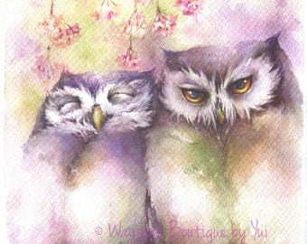"""PRINT –The warmth of your love Watercolor painting 7.5 x 11"""""""