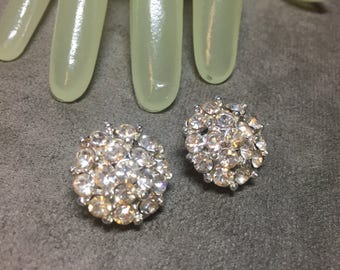 "Vintage 3/4"" Silvertone Multi Cluster Clear Rhinestone Accented Clip on Earrings"