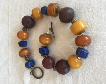 Natural lapis old faceted Czech Bohemian amber high end necklace