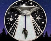 Alien Abduction UFO Soft Cloisonné Jumbo Pin - Cryptozoology Tracking Society - Extraterrestrials Aliens