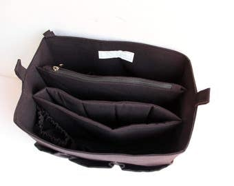 Extra Taller and Diaper Purse organizer with 2 dividers Laptop and zipper compartment - Bag organizer insert in Black