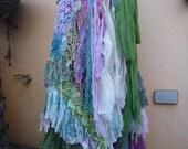 "20%OFF vintage inspired shabby bohemian mermaid gypsy wrap skirt..40"" across plus long ties...."