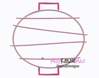 Paper Lantern Round Machine Applique Embroidery Design, Mulitple Sizes
