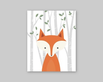 Fox Art Print Orange Fox Art Print, Fox Illustration Fox Painting Fox Home Decor Fox Poster Wall Hanging Fox Kids Print YassisPlace
