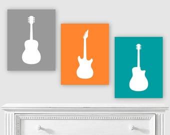 GUITAR Wall Art, Guitar Art Prints, Music Lover Playroom Decoration for Fender fan, Boy Girl themed bedroom Unique Baby Shower Birthday Gift