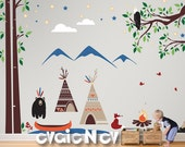Kids Playing TeePee camp Wall Decals with Canoe, Campfire,  Eagle and Mountains, Indigenous People and First Nations Wall-Decals - PLFN010