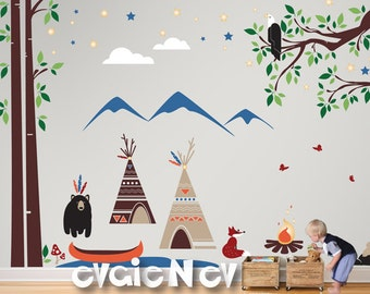 Kids Wall Decals - TeePee camp Wall Decals with Canoe, Campfire,  Eagle and Mountains, Indigenous People and First Nations - PLFN010