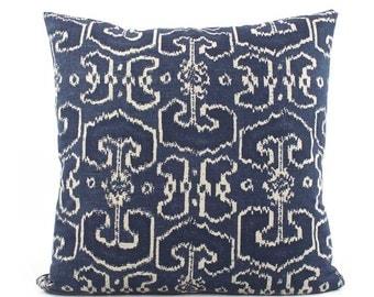Batik Indigo Blue Pillow Cover 18x18, 20x20, 24x24 Euro Sham or Lumbar, Ikat Pillow Cover, Throw Pillow, Accent Pillow, Lacefield Bengali