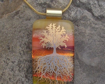 Gold Tree of Life Dichroic Fused Glass Tree Roots Pendant
