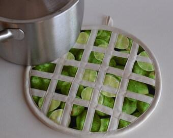 Lime Pie Hot Pad Pot Holder, kitchen fruit decor,Key Lime, Green Kitchen pie