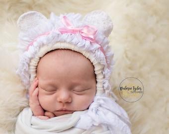 Ruffles bear bonnet handmade beautiful unique photo props photography  girl  Bring home baby reborn