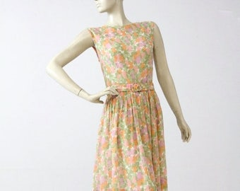 SALE 1960s floral dress with belt, watercolor garden party dress, vintage sundress