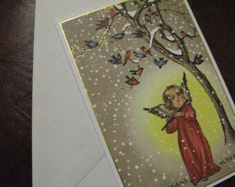 A Vintage Treasure Pristine BROWNIE Angel Christmas Card & Envelope, UNUSED, Gold Shimmer Hi-lites, Coveted Collectible, More in SeaSeaRider