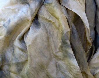 SALE  ...   hand dyed silk scarf  ... shades of silver and gold