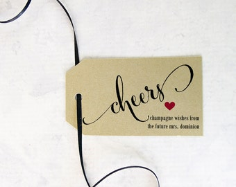 Personalized Cheers Tags, Wine Tag, Gold Wedding Tag, Shower, Dinner Party Gift , New Years Party Favors - Set of 8, 2 x 3.5 inches, CAN