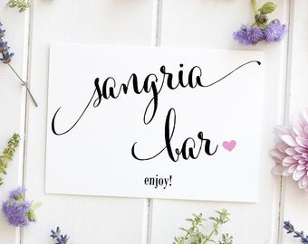 Sangria Bar Sign, Wedding Sign, Party Signage, Bridal Shower Decoration, Fiesta, Printed Sign, - Size 5 x 7 (CAN)