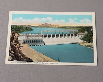 Vintage Postcard Post Card Claytor Lake Dam Peaks Knob Pulaski VA Virginia
