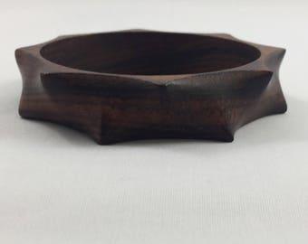 Vintage organic shaped thorny wood bangle bracelet